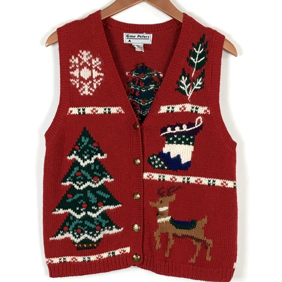 gina peters vintage ugly christmas sweater vest m - Christmas Sweater Vest